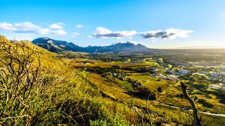 Early morning over the Western Cape with Cape Town and Table Mountain viewed from the Ou Kaapse Weg, Old Cape Road, on a clear winter morning