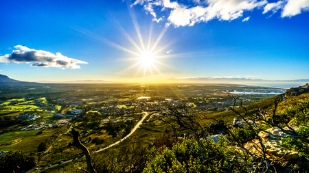 Sunrise over the Western Cape from the Ou Kaapse Weg, Old Cape Road, on a clear winter morning Stock Photo