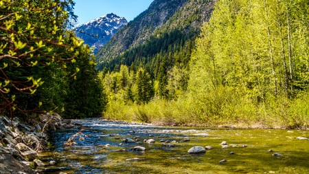 Cayoosh Creek as it flows between Duffey Lake and Seton Lake. The creek runs for the most part next to Highway 99, the Duffey Lake Road, between Pemberton and Lillooet in southern British Columbia