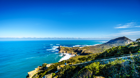 Rugged coastline and steep cliffs of Cape of Good Hope on the Atlantic Ocean side of the Cape Peninsula in South Africa