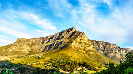 View of Cape Town, Table Mountain and the Twelve Apostles from the hiking trail to the top of Lions Head mountain near Cape Town South Africa on a nice winter day