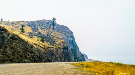 Smoke hanging over the Trans Canada Highway, Highway 1, along Kamloops Lake in central British Columbia. The smoke is from the many forest fires in the summer of 2017