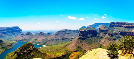 The famous Three Rondavels and other Mountains surrounding the Blyde River Dam in the Blyde River Canyon Nature Reserve on the Panorama Route in Mpumalanga Province of South Africa