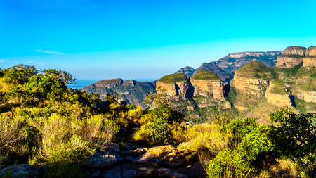 Highveld with the Three Rondavels of the Blyde River Canyon along the Panorama Route in Mpumalanga Province of South Africa