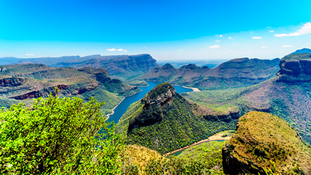 View of the Blyde River Dam and Blyde River Canyon from the Three Rondavels viewpoint on the Panorama Route in Mpumalanga Province of South Africa