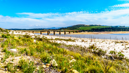 Extremely low water level in the Theewaterkloof Dam or TWK Dam due to extensive drought. The dam is a major reservoir for the water supply for the Cape Town area