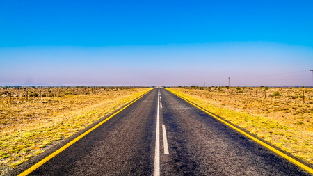 Long Straight Road in the Free State province of South Africa Stock Photo