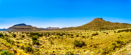 Panorama of the Endless wide open landscape of the semi desert Karoo Region in Free State and Eastern Cape provinces in South Africa under blue sky Foto de archivo