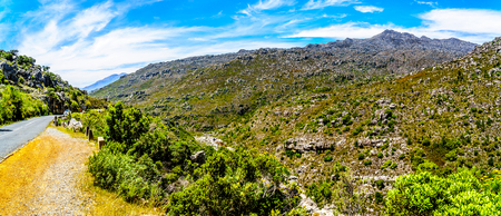 The narrow and scenic Bainskloof Pass through the Witte River or Witrivier Canyon between the towns Ceres and Wellington in the Western Cape province in South Africa