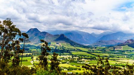 Franschhoek-vallei in de provincie West-Kaap van Zuid-Afrika met zijn vele wijngaarden die deel uitmaken van de Kaapse Wijnlanden, omringd door het Drakenstein-gebergte, gezien vanaf de Franschhoek-pas Stockfoto - 98257754