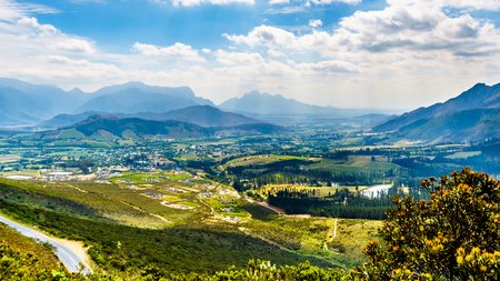 Spectacular view of Franschhoek Pass, also called Lambrechts Road R45, which runs along Middagskransberg between Franschhoek and Villiersdorp in the Western Cape Province of South Africa