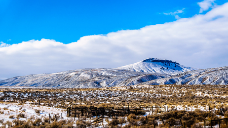 Winter Landscape in the semi desert of the Thompson River Valley between Kamloops and Cache Creek in central British Columbia, Canada