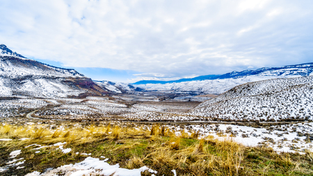 Winter Landscape in the semi desert of the Thompson River Valley between Kamloops and Cache Creek in central British Columbia.