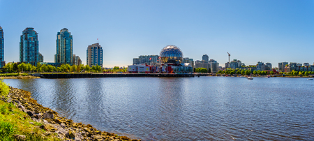 East End of False Creek Inlet in Vancouver British Columbia under clear blue sky