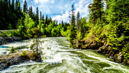 Massive water flow during the spring runoff in the Murtle River, due to melting of the deep snow pack in the Cariboo Mountains of Wells Gray Provincial Park, British Columbia, Canada 免版税图像