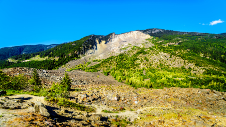 The Hope Slide along Highway 3 in British Columbia. The rock slide on Jan 9, 1965 was triggered by a minor earthquake, resulting in 46 million M3 of rock and earth crashing down, killing 4 people