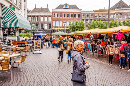 Zwolle, The Netherlands - Oct. 11, 2014: The Saturday Outdoor Market in the center of the old Hanseatic city of Zwolle in the Netherlands