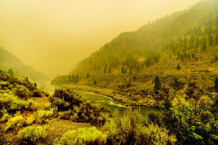 Thick Smoke in the Fraser Canyon from the 500  Forest Fires in the Province of British Columbia, Canada.