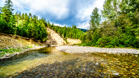 Because of the low water levels in early September the Coldwater River Salmon Habitat is protected from fishing near the settlement of Brookmere in the Nicola Region of British Columbia, Canada