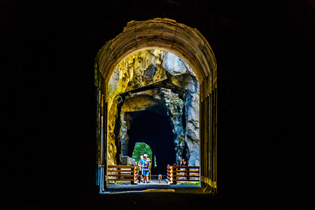 The Othello Tunnels, in the Coquihalla Canyon, of the now abandoned Kettle Valley Railway near the town of Hope, British Columbia, Canada 스톡 콘텐츠
