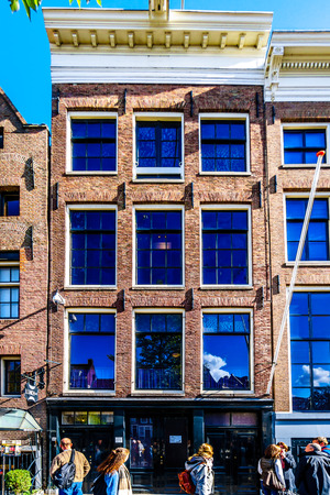 Amsterdam, the Netherlands - Sept 28, 2018: The Anne Frank House and Museum at the Prinsengracht (Prince Canal) in the Jordaan District in the historic center of Amsterdam