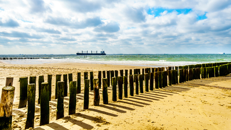Beach erosion protection with a Large Ocean Freighter coming from the North Sea in the backgroun and heading into in the Westerschelde to the harbor of Vlissingen in Zeeland Province, the Netherlands Stockfoto