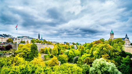 uxembourg / Luxemburg - Sept. 20, 2018: Vallé de la Pétrusse (Petrusse Park) viewed from the Adolphe Bridge in the city of Luxumbourg