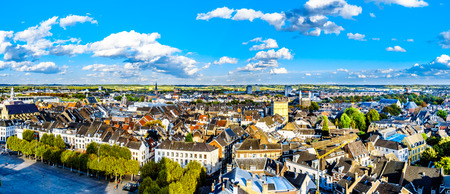 Aerial view of the historic city of Maastricht in the Netherlands as seen from the tower of the Sint Janskerk which is at the Vrijthof square in the center of the city 스톡 콘텐츠