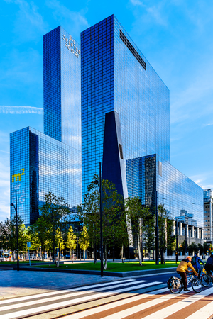 Rotterdam  The Netherlands - Sept. 26, 2018: Modern High Rise or Skyscraper building in the center of the city of Rotterdam at station square