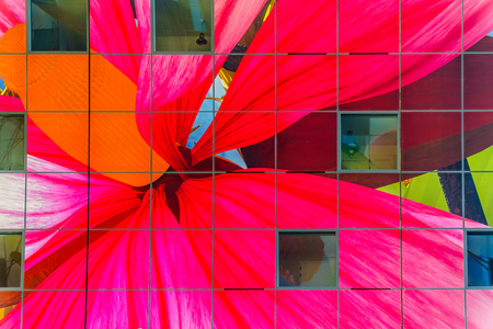 Rotterdam / The Netherlands - Sept. 26, 2018: Modern art on the ceiling of the Market Hall, a multi purpose building  with its many shops in the center and apartments in the outside horseshoe