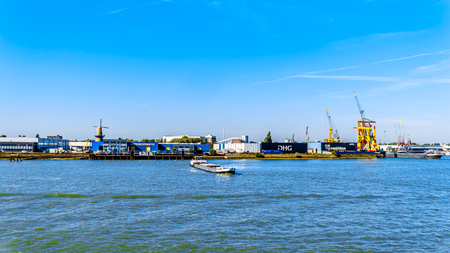 Rotterdam  The Netherlands - Sept. 26, 2018: Rhine Barge in the Waalhaven, a major terminal area of the port of Rotterdam Redactioneel