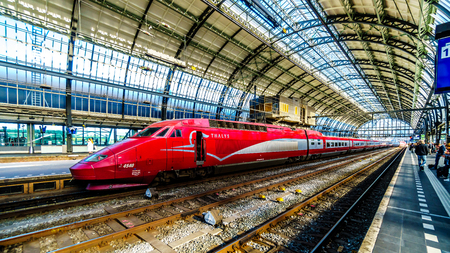 Amsterdam, Noord Hollandthe Netherlands - Oct. 3 2018: The high speed Thalys train between Amsterdam and Paris is ready to depart from Amsterdam Central Station Editorial