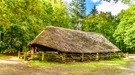 Historic Sheepfold with a thatched roof in the Veluwe Region in the province of Gelderland in the Netherlands