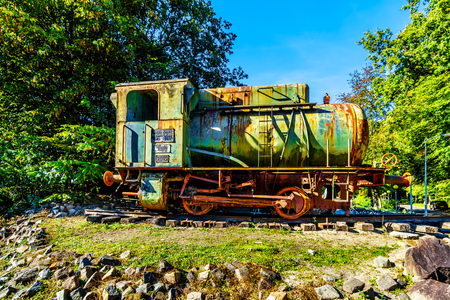 Old and Rusty Steam Locomotive displayed near the overpass of the Hierderweg over the A28 or E232 Freeway between Zwolle and Amesfoort near Duinen