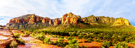 Panorama of the colorful sandstone of Cathedral Rock between the Village of Oak Creek and Sedona in northern Arizona in Coconino National Forest, United States of America