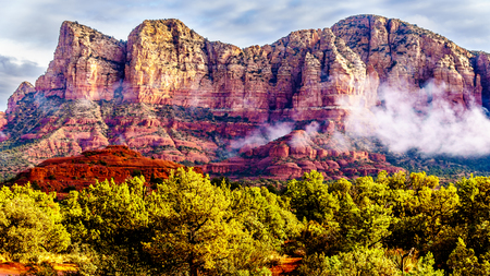 Lee Mountain, Munds Mountain and other red rock mountains surrounding the town of Sedona in northern Arizona in Coconino National Forest, United States of America