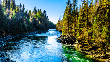 The Murtle River flowing to Mushbowl falls in the Cariboo Mountains of Wells Gray Provincial Park, British Columbia, Canada