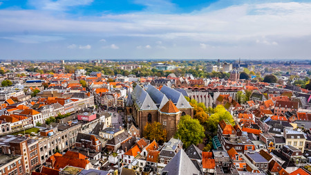 Aerial view of the historic hanseatic city of Zwolle from Peperbus tower in the center of the city Redactioneel