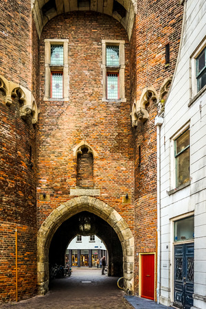 Zwolle, OverijselThe Netherlands - Oct.23 2014: Arched opening of the Old city gate called the Sassenpoort in the historic hanseatic city of Zwolle