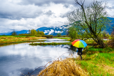 Woman with a rainbow colored Umbrella under dark rain clouds on a cold spring day at the lagoons of Pitt-Addington Marsh in Pitt Polder near Maple Ridge in British Columbia, Canada