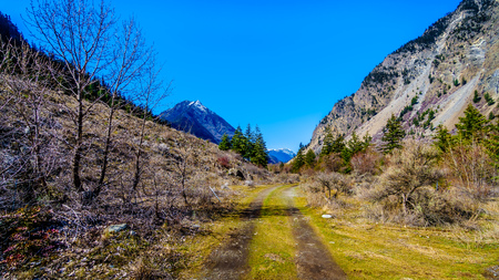 Dirt road in the Coast Mountains at the Duffey Lake Road near the town of Lillooet in British Columbia, Canada Stockfoto