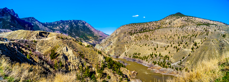 View of the Fraser River along Highway 99, from the area called the 10 mile slide or Fountain Slide, as the river flows to the town of Lillooet in the Chilcotin region on British Columbia, Canada