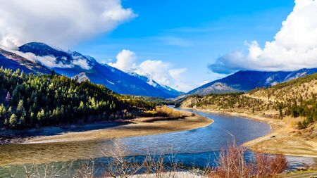 The confluence of the Thompson River and Fraser Rivers at the town of Lytton, British Columbia, Canada