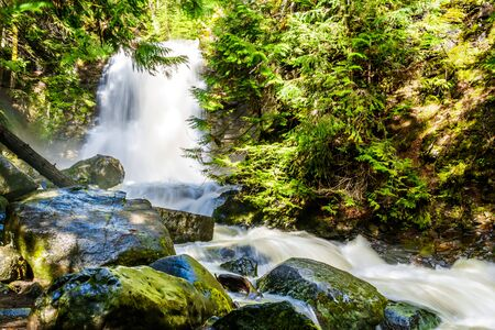 Whitecroft Falls, a waterfall on McGillivray Creek and a short hike from Sun Peaks Road near the town of Whitecroft in the Shuswap region of the Okanagen in British Columbia, Canada 版權商用圖片