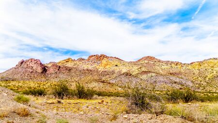 Colorful and Rugged Mountains in El Dorado Canyon on the border of Nevada and Arizona. The canyon is part of the Lake Mead National Recreation Area in the USA Stock fotó