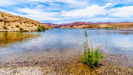 Colorful and Rugged Mountains along the Cottonwood Basin of the Colorado River in El Dorado Canyon on the border of Nevada and Arizona and part of the Lake Mead National Recreation Area in the USA