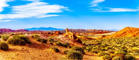 Panorama of the colorful red, yellow and white sandstone rock formations along the White Dome Road in the Valley of Fire State Park in Nevada, USA 免版税图像 - 128446801