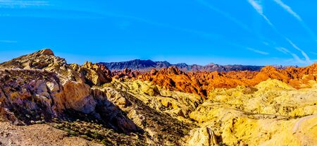 Panorama view of the Colorful Sandstone Mountains at Sunrise at the Silica Dome viewpoint in the Valley of Fire State Park in Nevada, USA