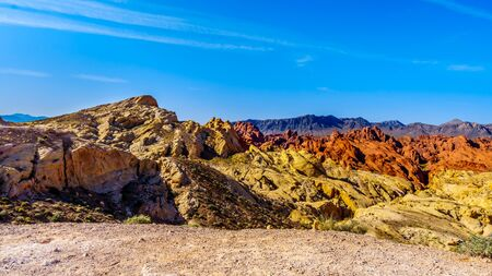 Colorful Sandstone Mountains at Sunrise at the Silica Dome viewpoint in the Valley of Fire State Park in Nevada, USA