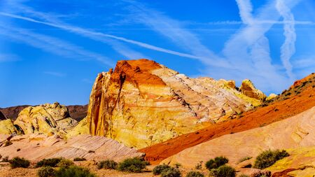 The colorful red, yellow and white sandstone rock formations along the White Dome Road in the Valley of Fire State Park in Nevada, USA Stockfoto